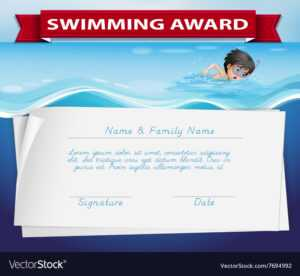 Template Of Certificate For Swimming Award with Swimming Award Certificate Template