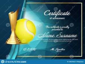 Tennis Certificate Diploma With Golden Cup Vector. Sport inside Tennis Gift Certificate Template