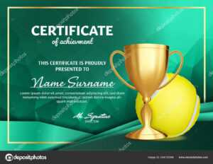 Tennis Certificate Diploma With Golden Cup Vector. Sport throughout Tennis Certificate Template Free