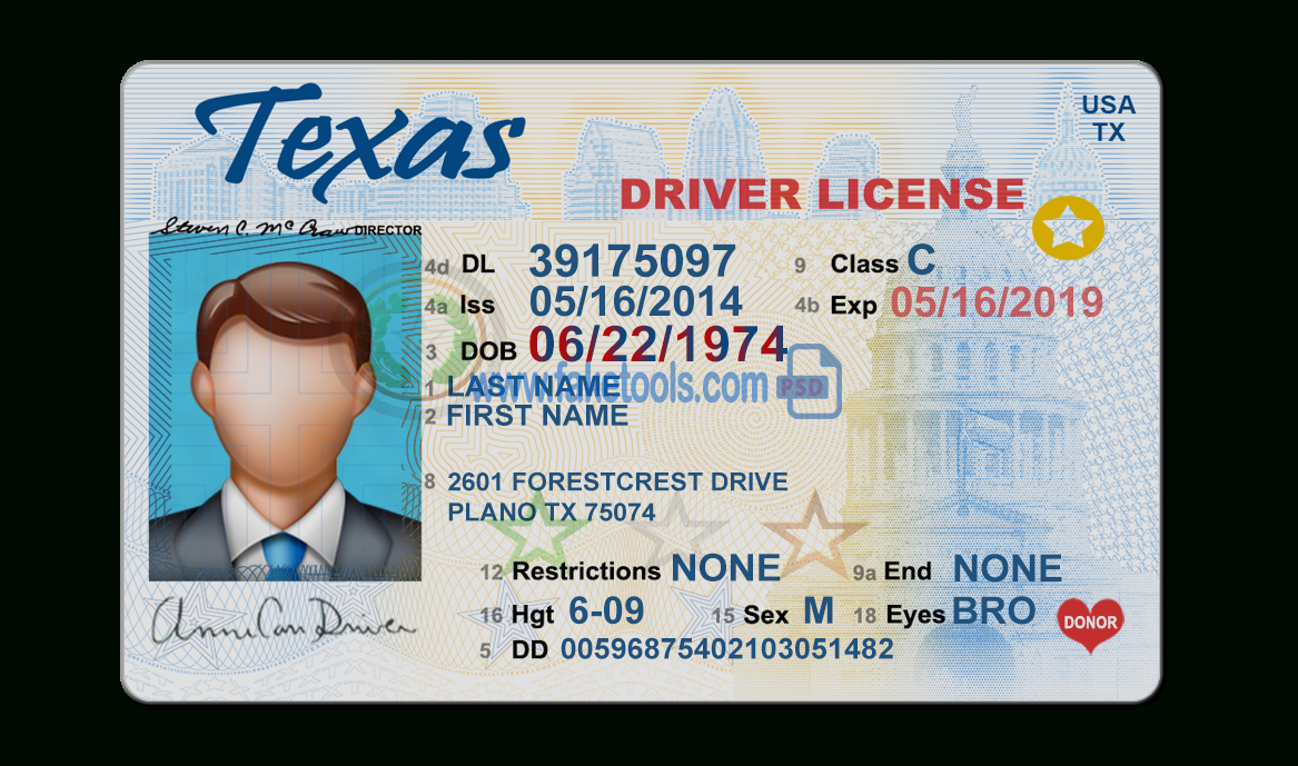 Texas Driver License Psd Template Intended For Texas Id Card Template