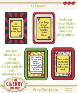 The Cherry On Top: Happy International Scrapbooking Day with regard to 52 Reasons Why I Love You Cards Templates Free