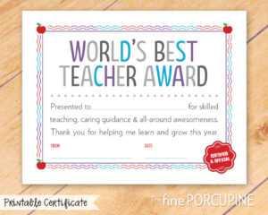 The Fine Porcupine — World's Best Teacher Award, Printable inside Best Teacher Certificate Templates Free