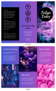 Tokyo Gradient Professional Travel Tri Fold Brochure Template with Island Brochure Template