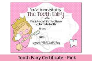 Tooth Fairy Certificate – Pink, 5 X 7 Inches in Free Tooth Fairy Certificate Template