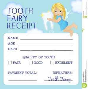 Tooth Fairy Receipt Certificate Design Stock Vector with Tooth Fairy Certificate Template Free