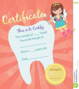 Tooth Fairy Receipt Certificate Template Stock Vector regarding Free Tooth Fairy Certificate Template