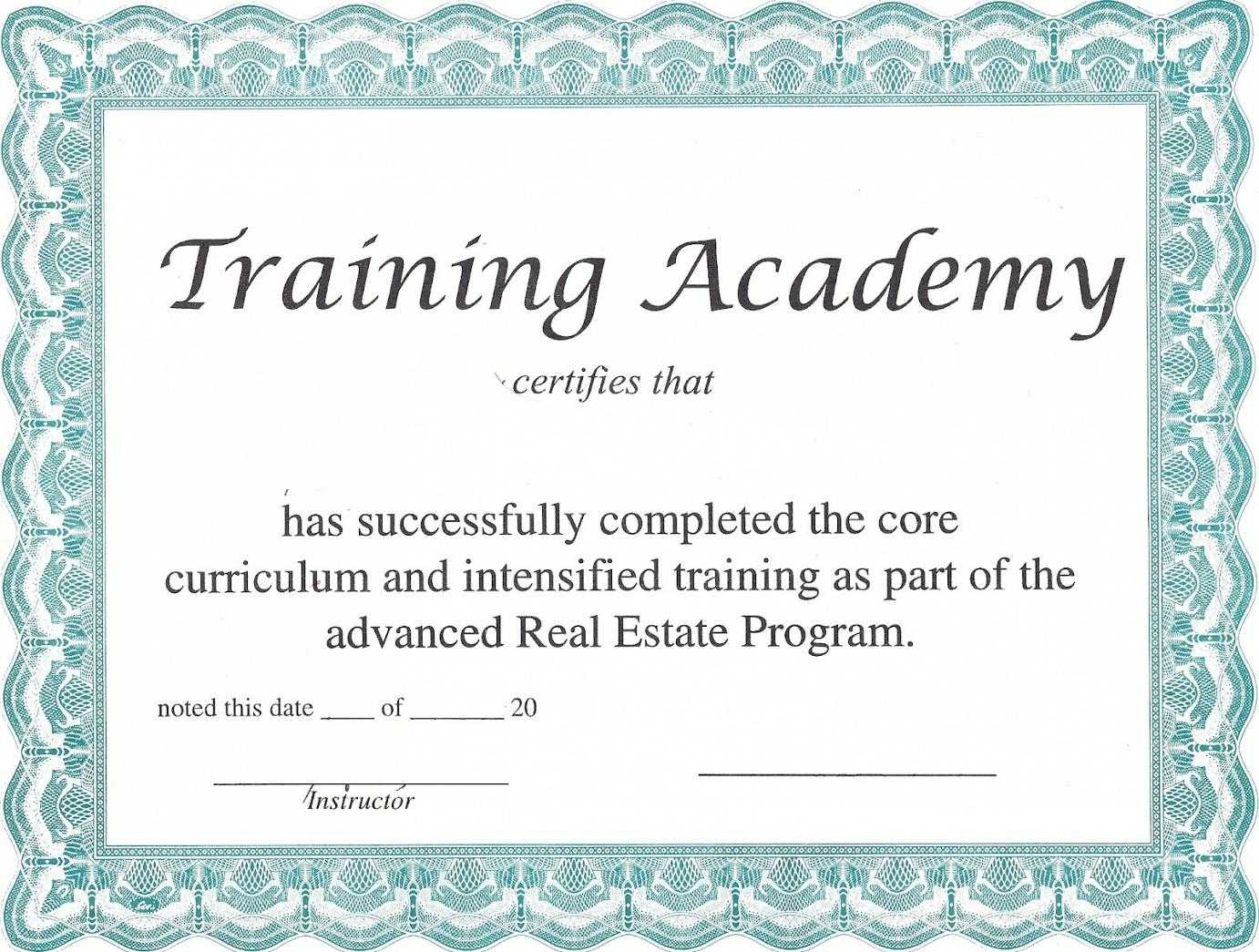 Training Certificate Template – Certificate Templates With Regard To Template For Training Certificate
