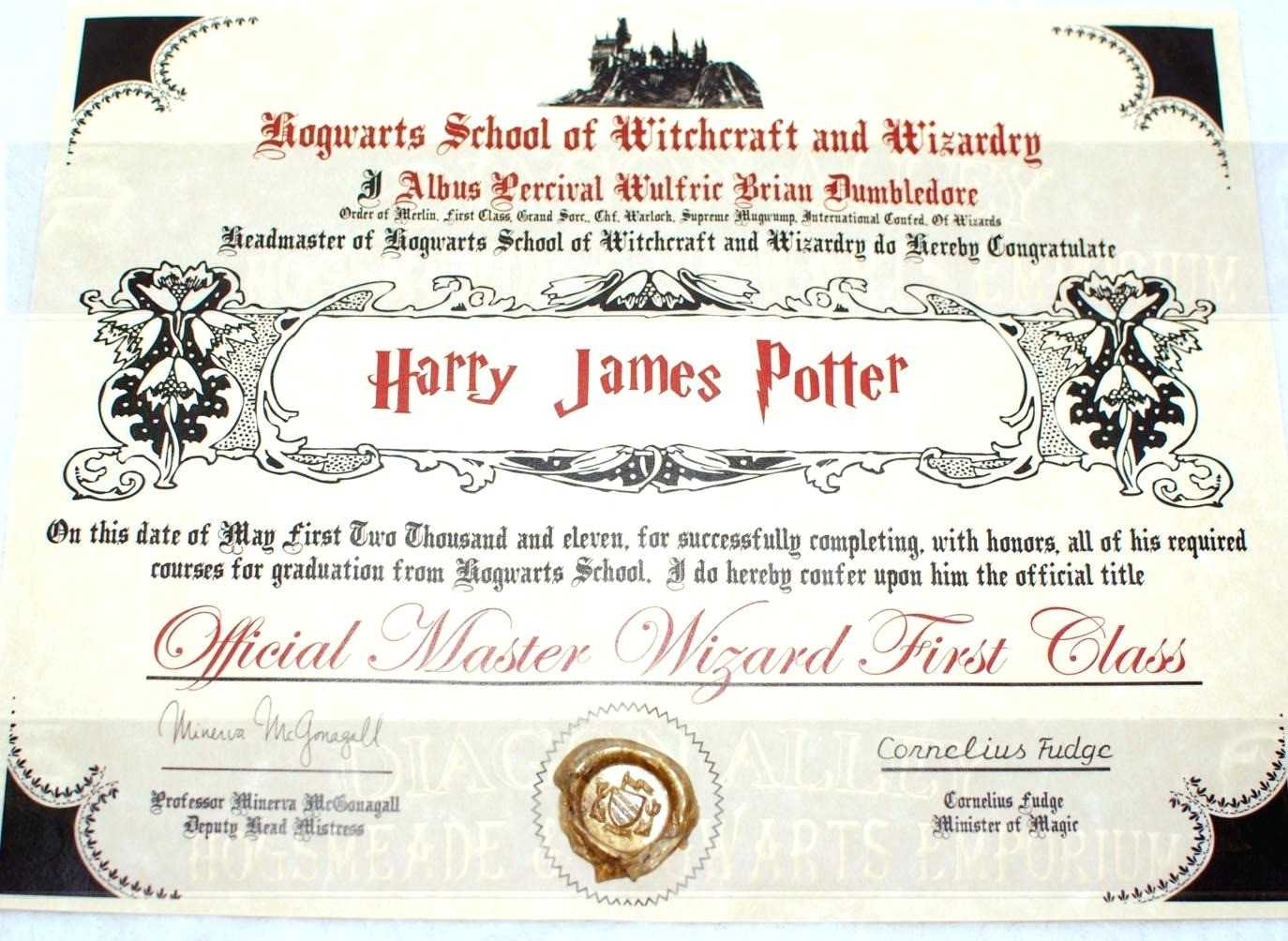 Training Certificate Template Free Best Of Hogwarts Diploma Throughout Harry Potter Certificate Template