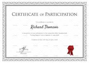 Training Participation Certificate Template in Certificate Of Participation Template Word