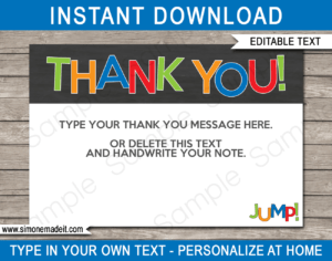 Trampoline Party Thank You Cards Template – Boys with Soccer Thank You Card Template