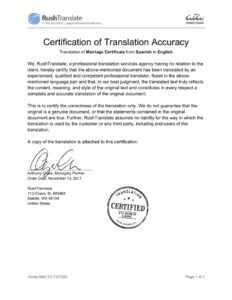 Translation Services in Marriage Certificate Translation Template
