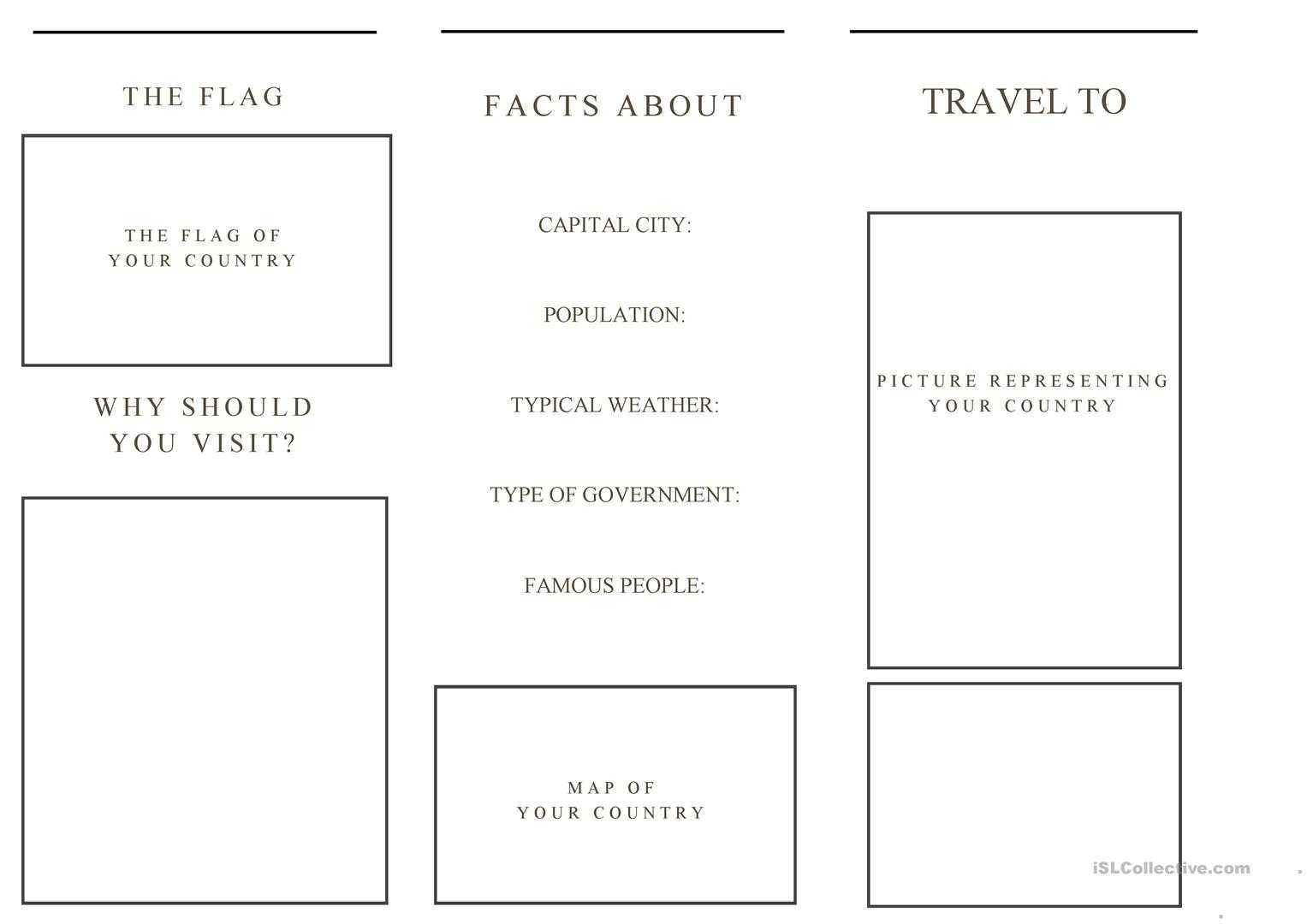 Travel Brochure Template And Example Brochure - English Esl Inside Country Brochure Template