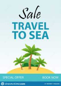 Travel To Sea, Tropical Vacation Flyer Template Design With in Island Brochure Template