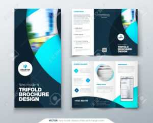 Tri Fold Brochure Design With Circle, Corporate Business Template.. pertaining to Fold Over Business Card Template