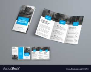 Tri-Fold Brochure Template With Blue Rectangular inside Three Panel Brochure Template