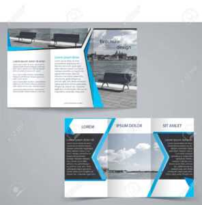 Tri-Fold Business Brochure Template, Two-Sided Template Design In Blue  Color. in Double Sided Tri Fold Brochure Template