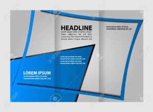 Tri-Fold Business Brochure Template, Two-Sided Template Design, Mock-Up  Cover In Blue Colors in Double Sided Tri Fold Brochure Template