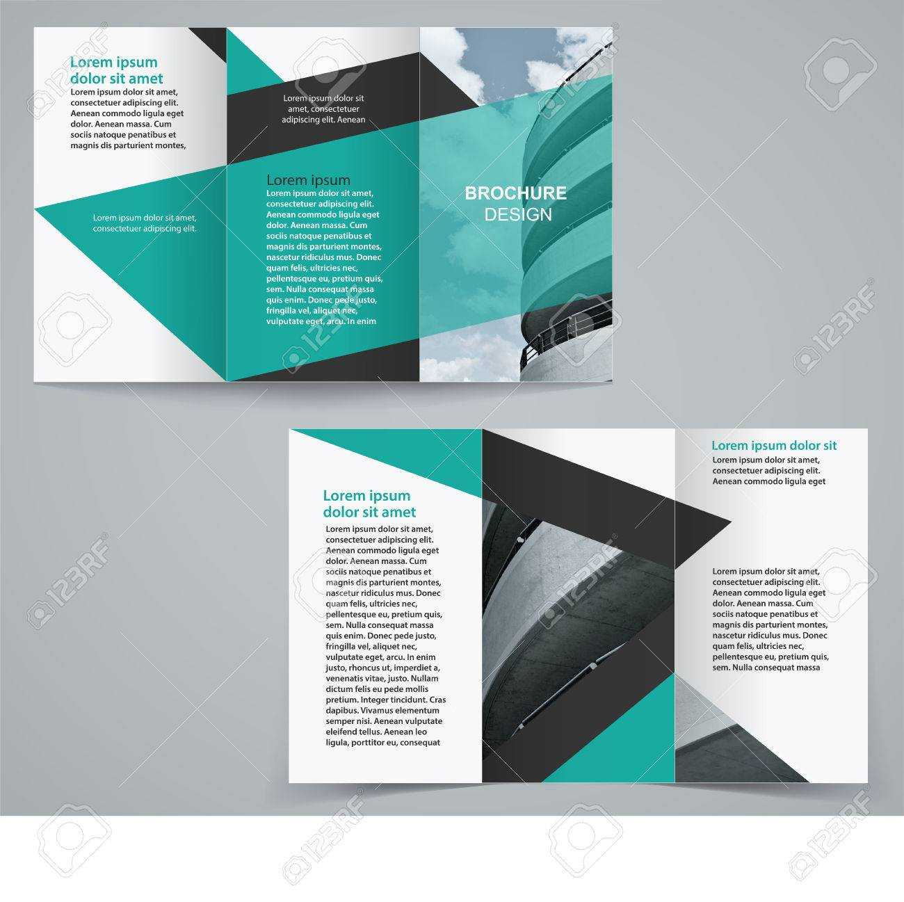 Tri Fold Business Brochure Template, Two Sided Template Design.. With Regard To Double Sided Tri Fold Brochure Template