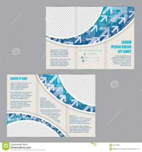 Tri-Fold Flyer Template With Arrows On Blue Wave Stock intended for Z Fold Brochure Template Indesign