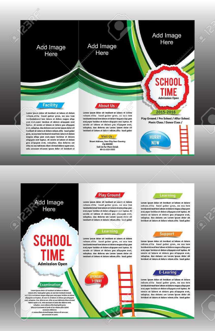 Tri Fold School Brochure Template Vector Illustration Within Tri Fold School Brochure Template