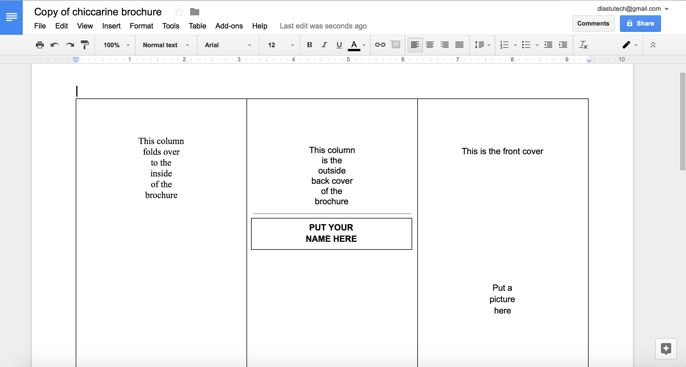 Tutorial: Making A Brochure Using Google Docs From A Regarding Google Drive Brochure Template