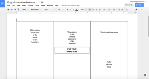 Tutorial: Making A Brochure Using Google Docs From A with Brochure Template Google Drive