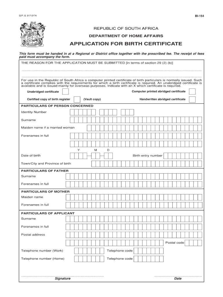 Unabridged Birth Certificate Form - Fill Online, Printable Pertaining To South African Birth Certificate Template