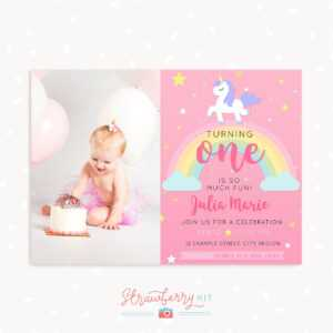Unicorn First Birthday Invitation Template With Photo in First Birthday Invitation Card Template