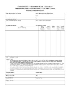United States Chile Trade Agreement Form – Fill Online with Certificate Of Origin For A Vehicle Template