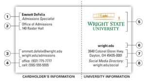 University Business Card | The Wright State University Brand within Graduate Student Business Cards Template