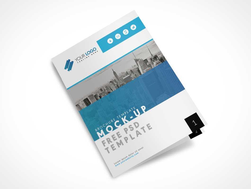Us Letter Size Bi Fold Brochure Cover Psd Mockup - Psd Mockups Intended For Letter Size Brochure Template