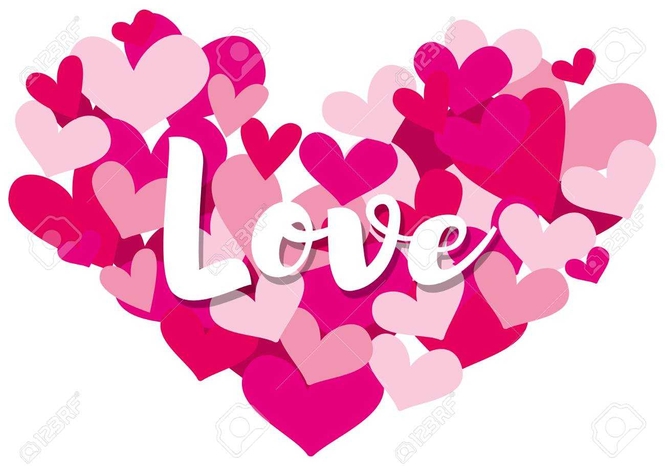 Valentine Card Template With Word Love On Heart Shapes Illustration With Regard To Valentine Card Template Word