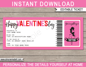 Valentine's Day Tattoo Gift Vouchers throughout Pink Gift Certificate Template