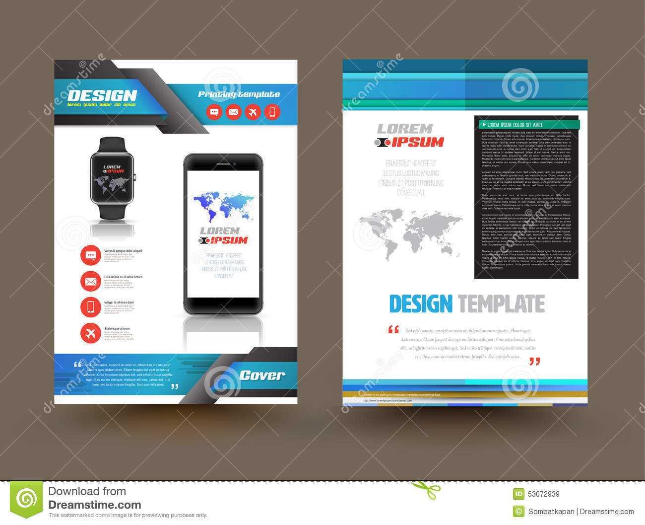 Vector Brochure Template Design For Technology Product Throughout Product Brochure Template Free