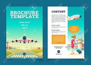 Vector Brochure Template With Airplane Takeoff. Travel Or Tourism.. in Travel And Tourism Brochure Templates Free