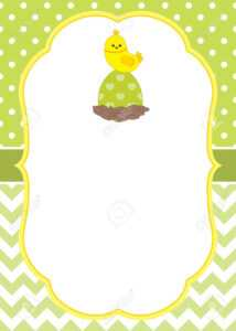 Vector Card Template With A Cute Chick On Polka Dot And Chevron Background.  Vector Easter Egg. Vector Illustration. with regard to Easter Chick Card Template