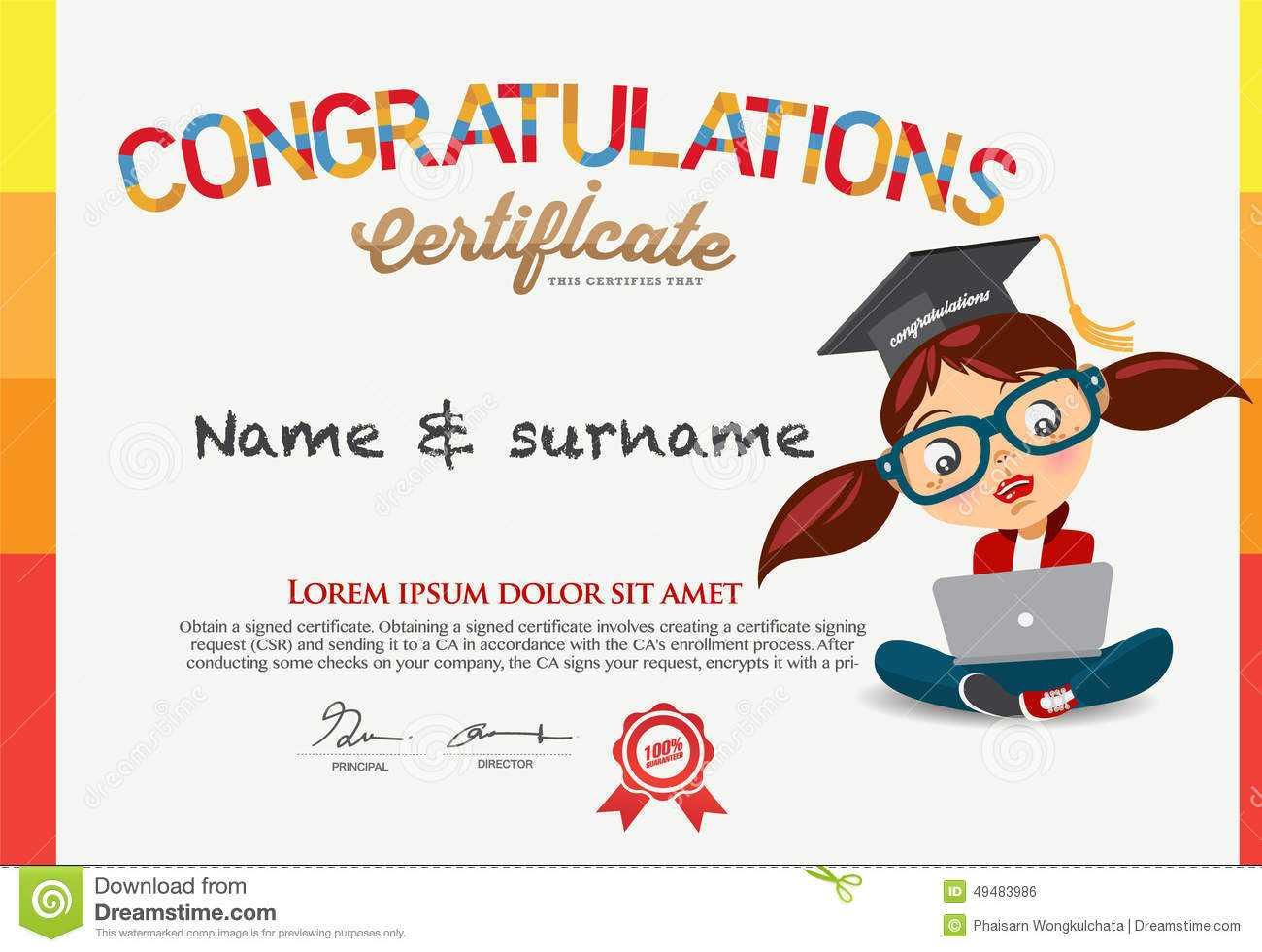 Vector Certificate For School Children Template. Stock Within Children's Certificate Template