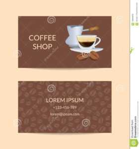 Vector Coffee Shop Or Company Business Card Template Stock within Coffee Business Card Template Free