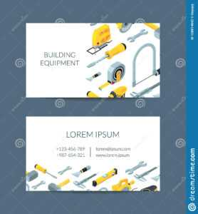 Vector Construction Tools Isometric Icons Business Card with regard to Construction Business Card Templates Download Free