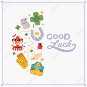 Vector Decorating Design Made Of Lucky Charms, And The Words.. in Good Luck Card Template