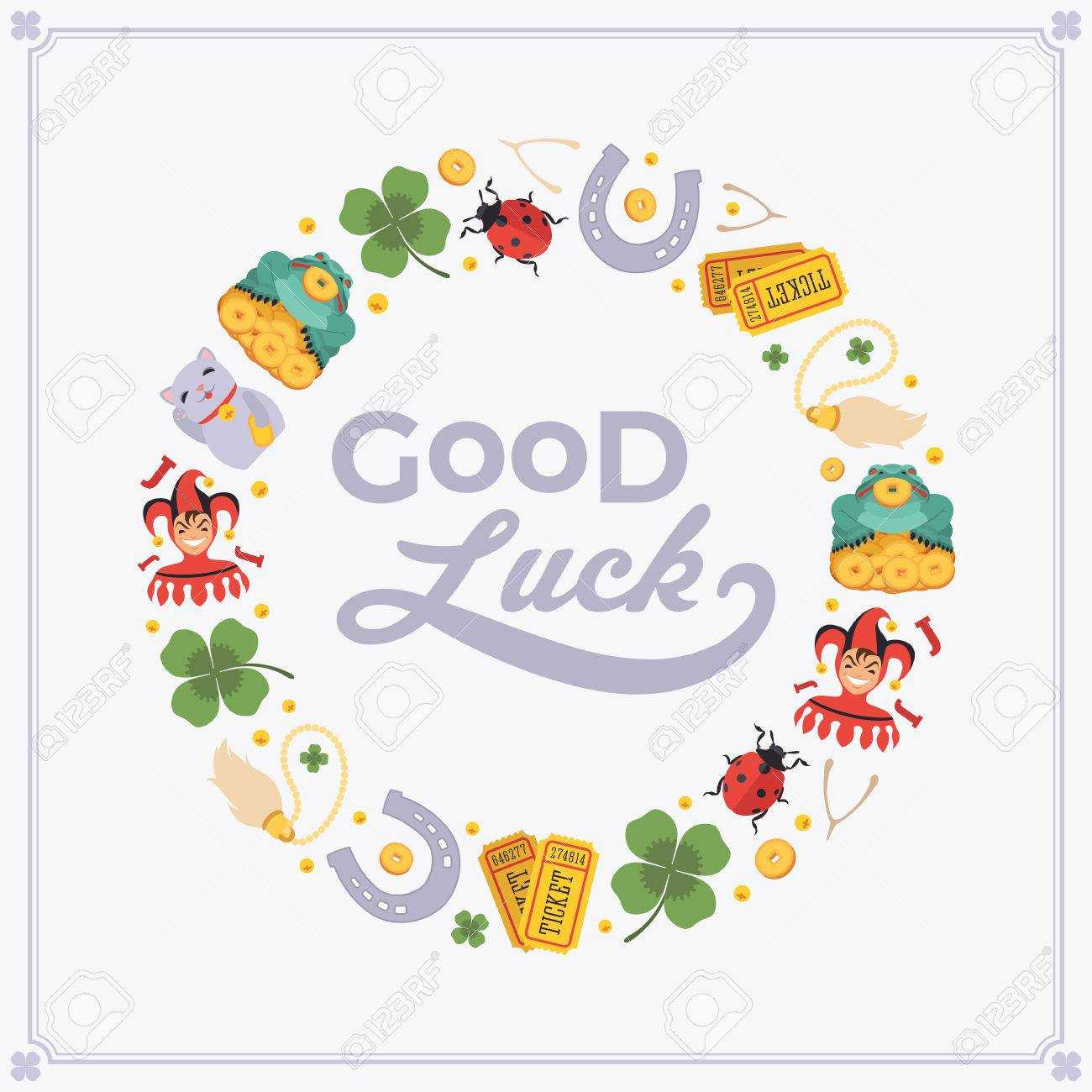 Vector Decorating Design Made Of Lucky Charms, And The Words.. With Good Luck Card Templates