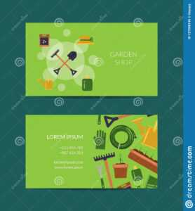 Vector Flat Gardening Icons Business Card Stock Vector throughout Gardening Business Cards Templates
