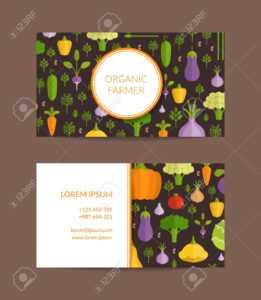 Vector Flat Vegetables Organic Farm, Vegan, Healthy Food Business.. inside Food Business Cards Templates Free