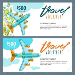 Vector Gift Travel Voucher Template. Top View Hand Drawn Flying.. for Free Travel Gift Certificate Template