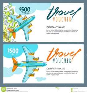 Vector Gift Travel Voucher. Top View Hand Drawn Flying for Free Travel Gift Certificate Template