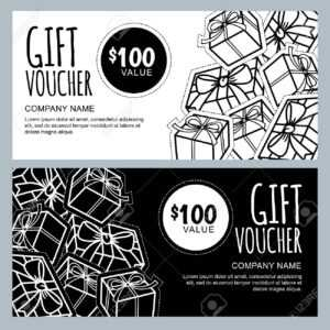 Vector Gift Voucher Template With Gift Box Patches And Stickers throughout Black And White Gift Certificate Template Free