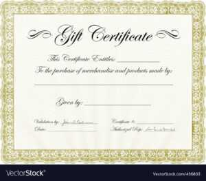 Vector Gold Gift Certificate Template with regard to Validation Certificate Template