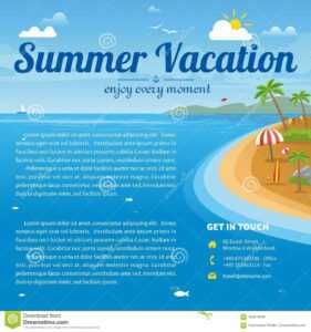 Vector Illustration Of The Sea Island Beach Background Stock for Island Brochure Template