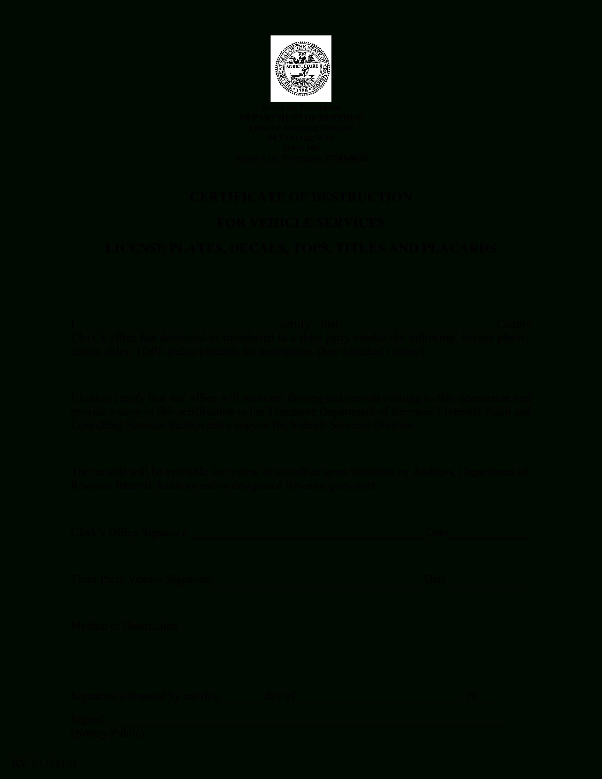 Vehicle Certificate Of Destruction   Templates At Regarding Certificate Of Destruction Template