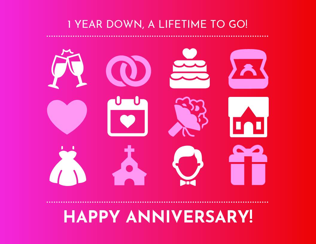 Vibrant Wedding Anniversary Card Template Intended For Template For Anniversary Card